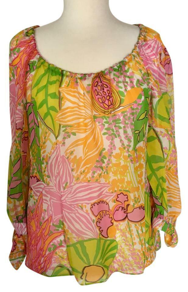 Trina Turk Silk Garden Floral Blouse Semi Sheer NEW  sz P