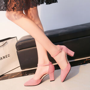 Women-Ladies-Ankle-Strap-Cuff-Pumps-Mid-Block-High-Heel-Sandal-Pointed-Toe-Shoes