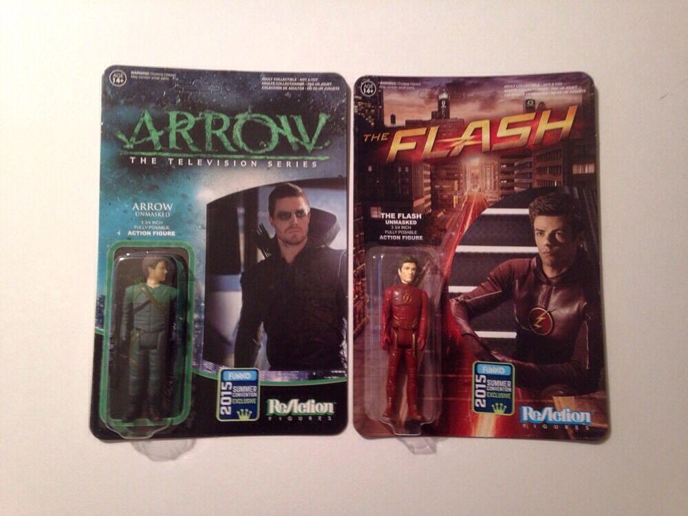 SDCC 2015 Exclusive Arrow & The Flash Funko Reaction Figures MOC DC Comics