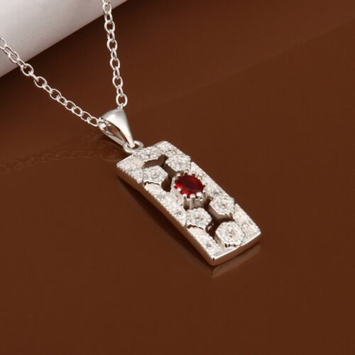 925 Sterling Silver Necklace Pendant Red Zirconia 18 Inches 1MM Lobster B51