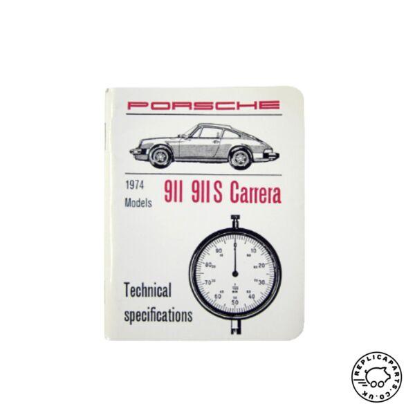 2019 Nieuwe Stijl Porsche 911 S Carrera 1974 Technical Specifications Booklet Wkd422121