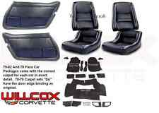 1979-1982 Corvette Interior Package Mounted Leather Seats, Carpet & Door Panels