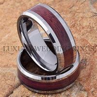 Tungsten Rings Wood Wedding Bands Set Men's & Women's Bridal Jewelry Size 6-13