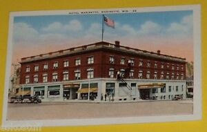 Image Is Loading Hotel Marinette Wisconsin Old Cars 1930s Postcard