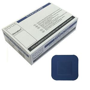 1 Boîte De Steroplast Bleu Sterochef Catering Kitchen Chef Stérile Square Plâtres-afficher Le Titre D'origine
