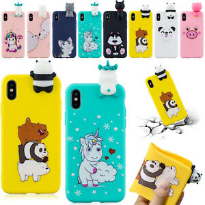 For-iPhone-XS-Max-XR-8-7-6S-3D-Cute-Cartoon-Silicone-Soft-Rubber-TPU-Case-Cover