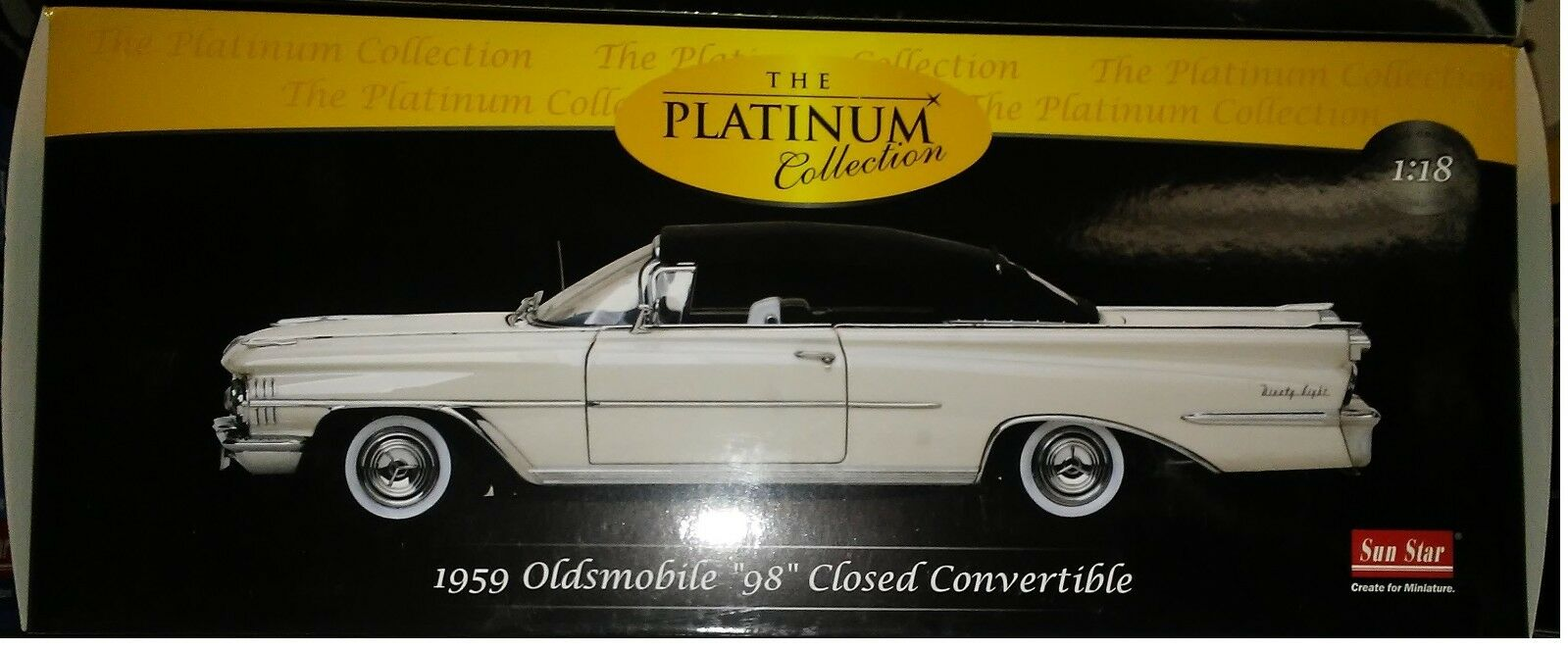 1959 OLDSMOBILE 98 CLOSED Diecast 10 inch SUNSTAR 1 18 PLATINUM SS 5233 WHITE