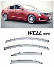 For 13-UP Cadillac ATS Sedan 4Dr WellVisors Side Window Visors W/ Chrome Trim