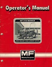 Massey Ferguson 218 Mid Mount 3 Pt Hitch Mower Operators Manual 1448542m2