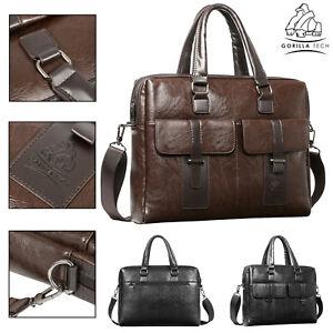 Laptop-Leather-Bag-New-Men-Business-Genuine-Briefcase-Satchel-Shoulder-Messenger