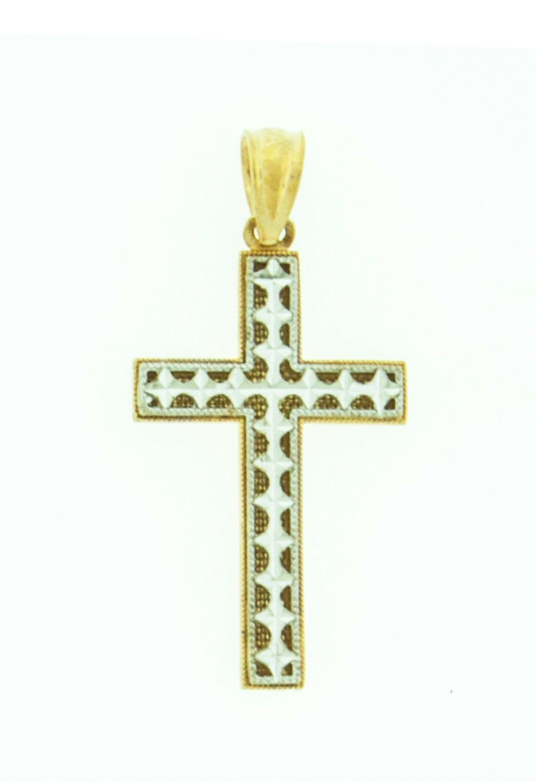 Solid 14k Two Tone gold Cross Jesus Religious Two Sided Pendant Charm 1.1