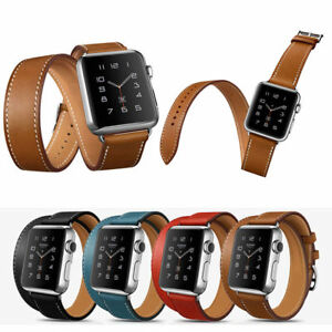For-Apple-Watch-iWatch-38mm-42mm-Leather-Double-Tour-Bands-Bracelet-Strap