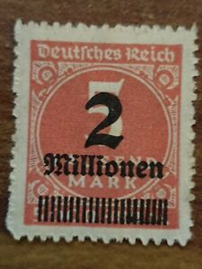 weimar-republic-German-empire-1923-overprinted-stamp-2-mill-5-mark