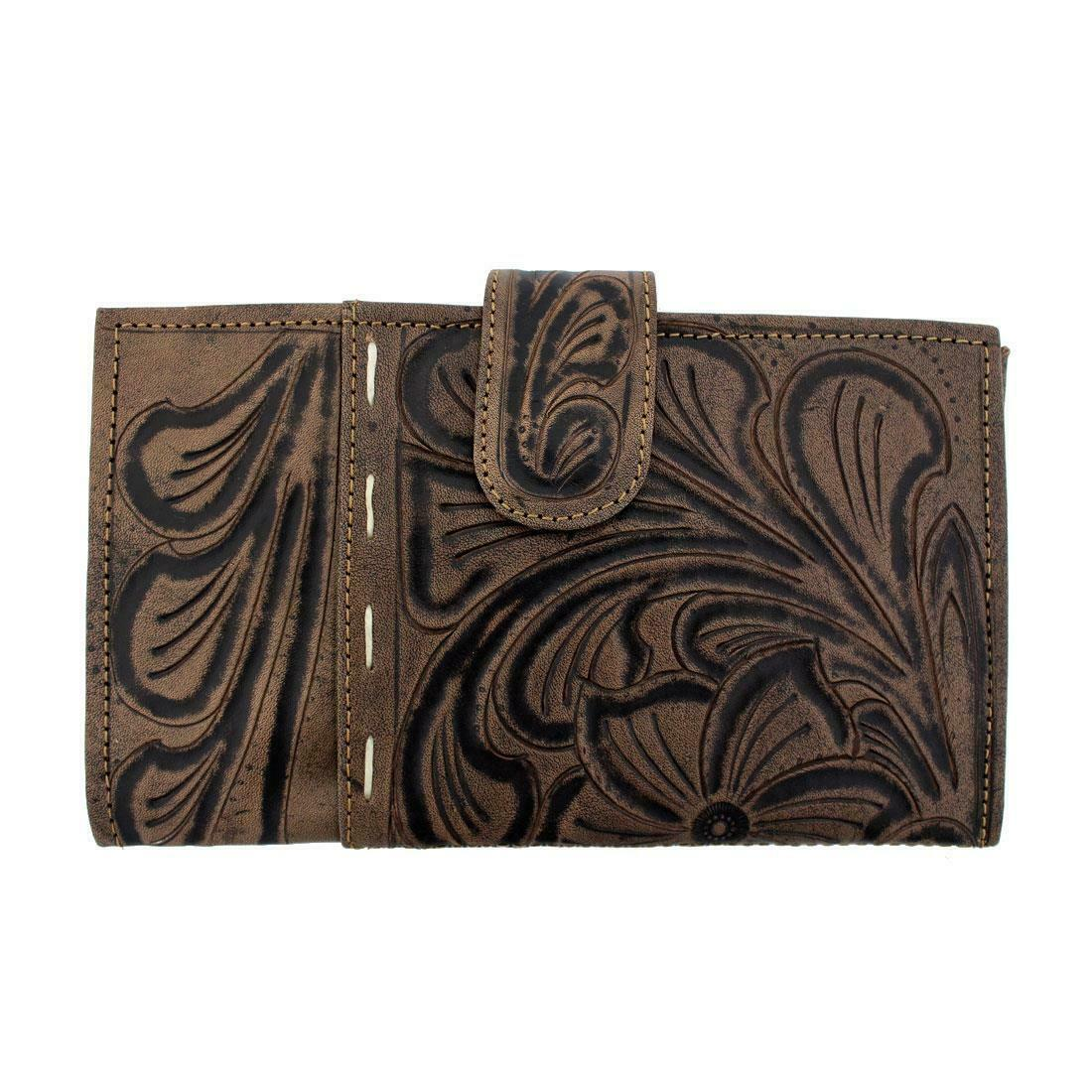 Leaders In Leather Hand Made Women's Wallet Handtooled Wild Flower Design