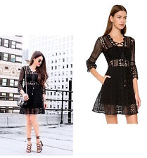 Self Portrait A-Line Guipure Lace Up Mini Dress Black UK Size 10 US 6 IT 42 NEW