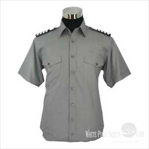 0e8f8a3f Image is loading Grey-Pilot-Shirts-Aviator-Uniform-Airmen-clothing-Security-