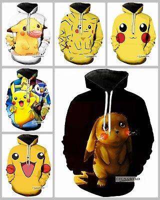 Men Sweatshirt Pikachu Cartoon 3D Graphic Full Printed Casual Pullover Hoodies