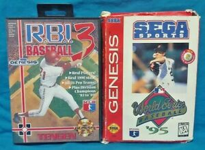 World Series 95 + RBI Baseball 3 - Sega Genesis Working Tested - 2 Game Lot