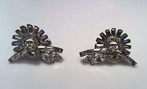 Vintage-Sterling-Silver-Navette-Baguette-Round-Rhinestone-Earrings