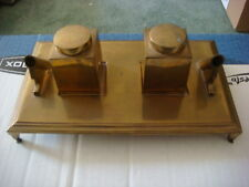 Vintage Brass Art Deco Footed Double Inkwell Solid with Clean Lines