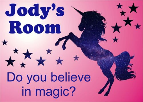 UNICORN PERSONALISED GIRLS BEDROOM SIGN PLAQUE GIFT IDEA NAME PLATE  200mmx150mm