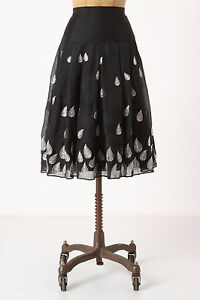 Anthropologie-Beaufort-Gale-Skirt-Black-Tulle-Embroidered-Feather-Size-0P-Petite