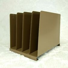 Vintage Brown Steel File Organizer Four Compartments