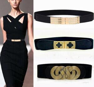 Lady-Wide-Fashion-Belt-Women-Black-Cinch-Waist-Belt-Elastic-Stretch-UK-Xmas-Gift