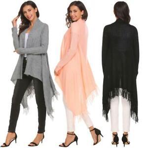 Women-Tassel-Irregular-Loose-Solid-Knit-Cardigan-Sweater-Open-Front-B98B