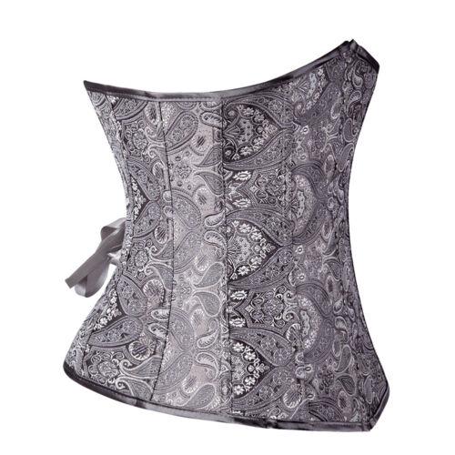 Women Lace Up Boned Underbust Corset Bustier Waist Cincher Body Shaper Costume