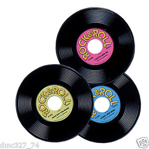 3 1950s 50s sock hop grease party decoration prop plastic rock roll rec - Decoration disque vinyle ...