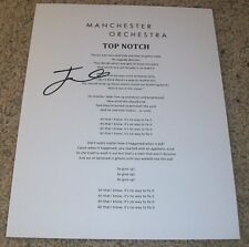 ANDY HULL SIGNED MANCHESTER ORCHESTRA TOP NOTCH LYRIC SHEET w/EXACT VIDEO PROOF