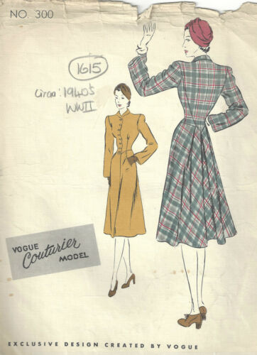 1940s Segunda Guerra Mundial Vintage Vogue Sewing Pattern Abrigo de B34 1615
