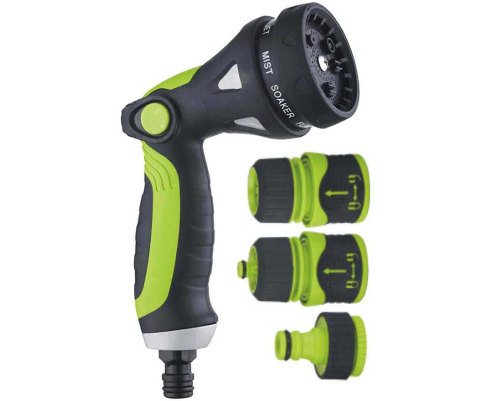 8 Way Garden Hose Spray Nozzle Set – Hosepipe Gun Tap Adapter Fitting Connector