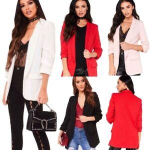 Women Ladies frill ruffle 3/4 sleeve Long-line Stylish duster coat jacket blazer