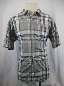 Mens-Sahara-Club-Cotton-Gray-White-Plaid-SS-Casual-Shirt-sz-XXL-TTG