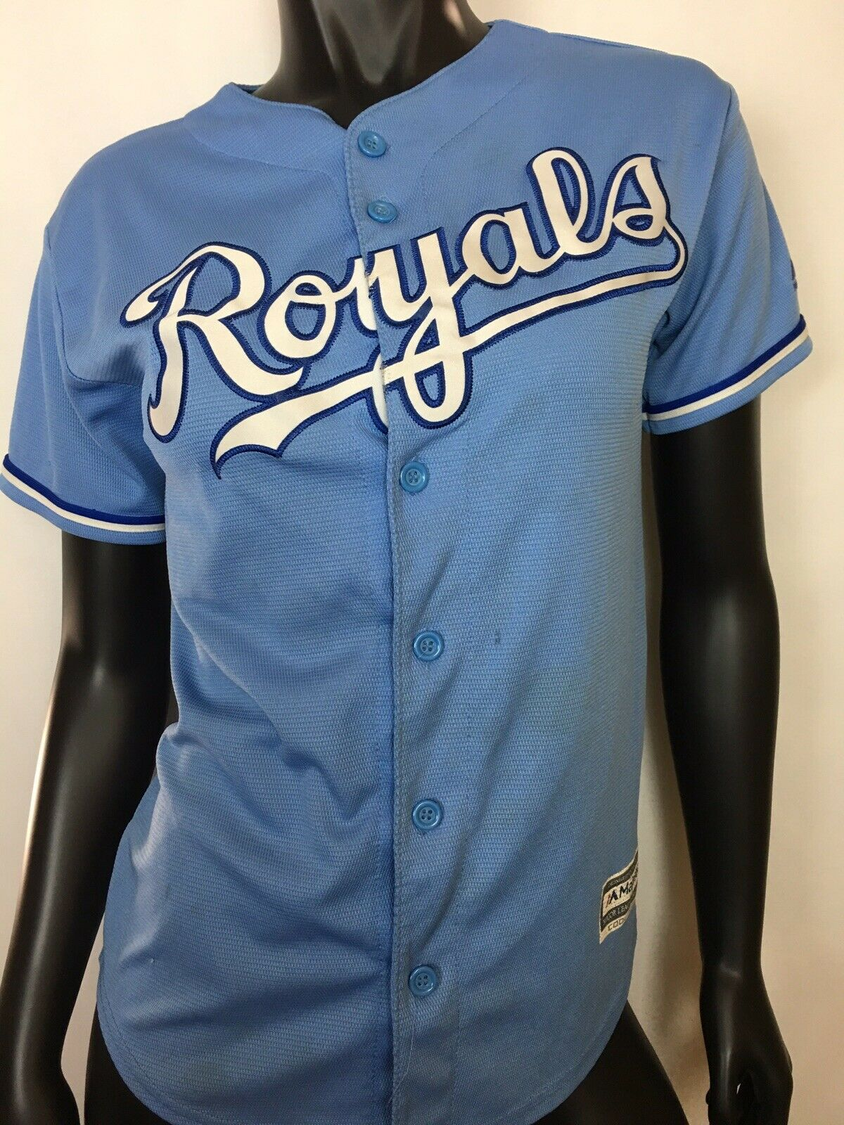 ENGINEERED EXCLUSIVELY FOR MAJESTIC MAJOR LEAGUE BASEBALL WOMEN'S ROYALS JERSEY