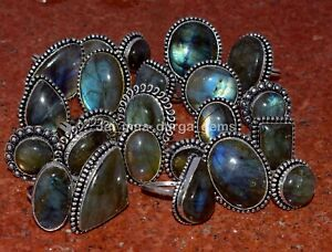 10 Pcs Lot Natural Multi Labradorite Stone 925 Sterling Solid Silver Rings RS-5