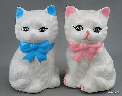 Salt & Pepper Shakers Kitty Cat Couple Figural Porcelain Pink Blue Bows Vintage