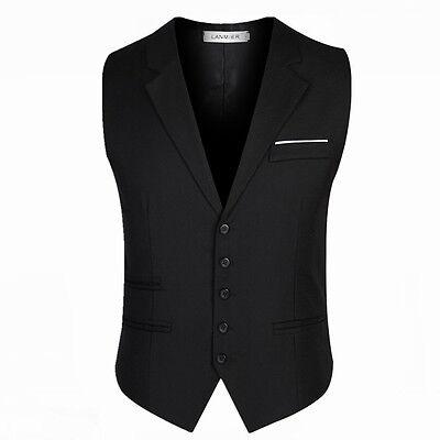 Men's Trendy Formal Business Slim Fit Chain Dress Vest Suit Tuxedo Waistcoat