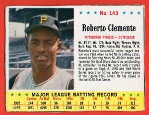 1963 Jello #143 Roberto Clemente VG-VGEX WRINKLE HOF Pittsburgh Pirates FREE S/H