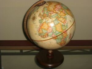 REPLOGLE 9 INCH RAISED RELIEF WORLD GLOBE WORLD CLASSIC SERIES WOOD BASE