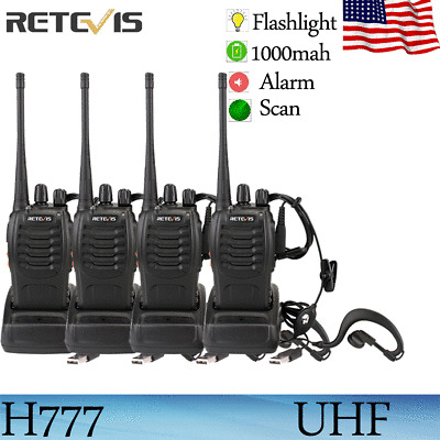 4xRetevis H777 Walkie Talkie 16CH UHF DC//USB Charger CTCSS//DCS Radio+Earpiece US