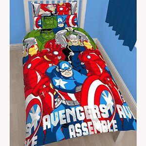 Marvel-Avengers-Battle-Set-Housse-de-couette-simple-reversible-2-en-1