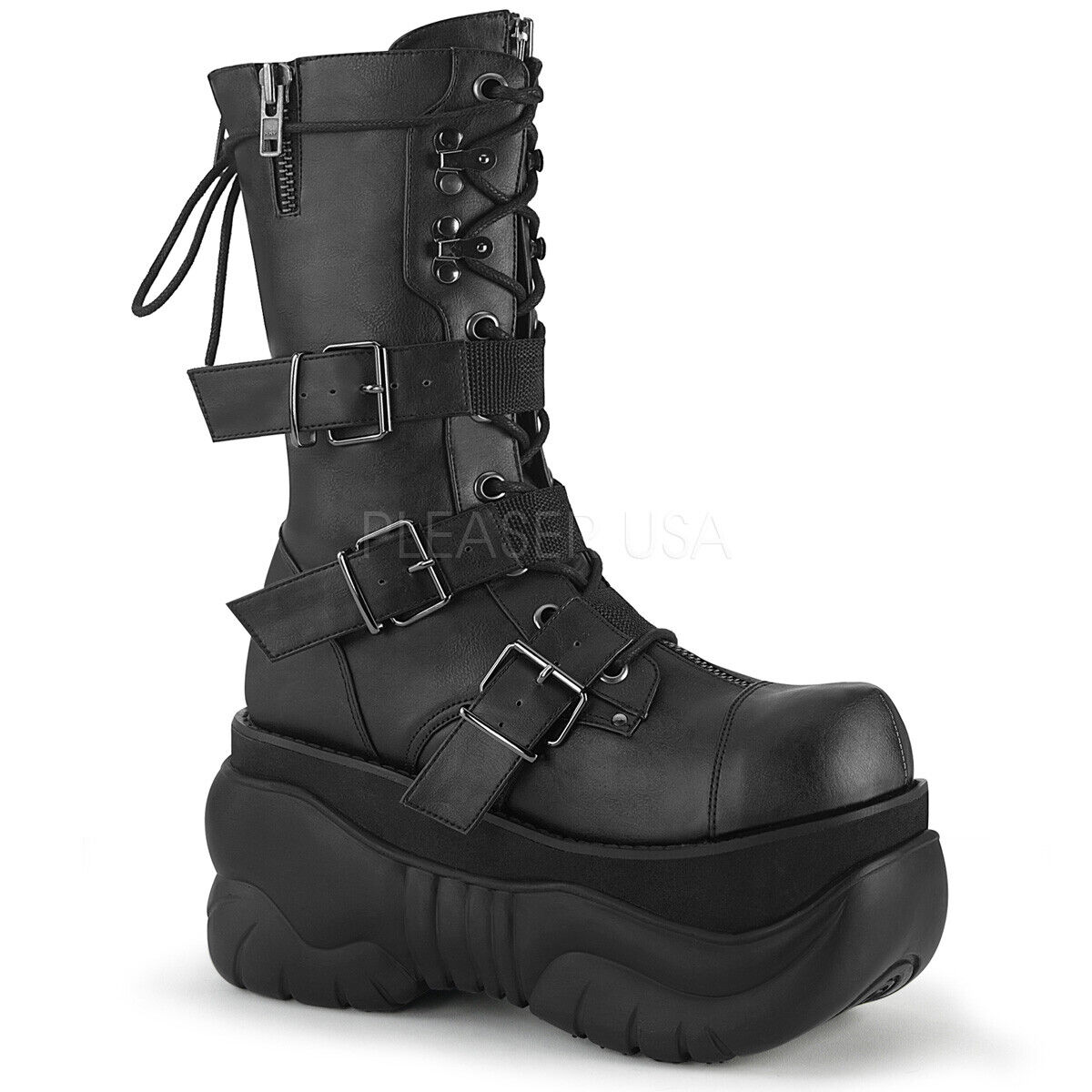 Demonia BOXER-230 Men's Black Vegan Leather Platform Lace-Up Zip Mid Calf Boots