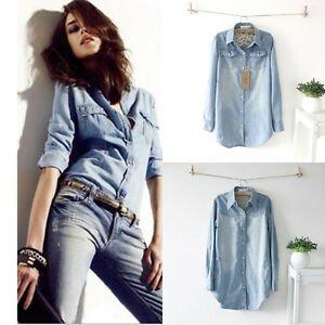 13-Women-Vintage-Casual-Light-Blue-Jean-Denim-Shirt-Top-Blouse-2-Patterns-S-XXXL