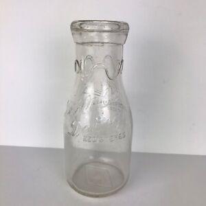 Vintage-Glass-Milk-Bottle-Textile-Dairy-Registered-Greensboro-N-C-One-Pint