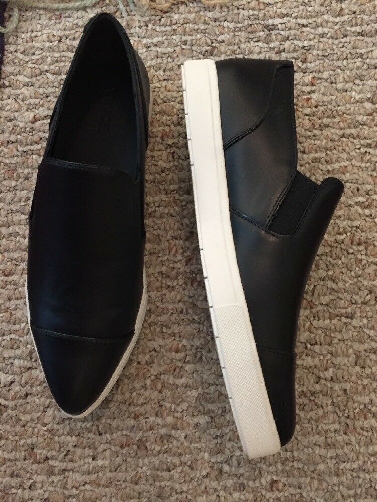 """VINCE Loafer shoe Pointy Toe Black Leather Loafer White Sole 10"""" Insole  395 New"""