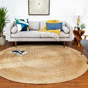 Patna-Natural-Woven-Jute-Beige-Braided-Round-Floor-Rug-2-Sizes-FREE-DELIVERY