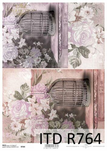 Reispapier-Motiv Strohseide-Decoupage-Serviettentechnik-Vintage-Shabby-R0764